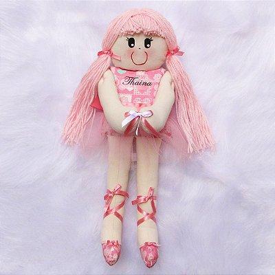 Boneca de Pano Bailarina Rosa Bebê