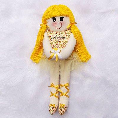 Boneca de Pano Bailarina Amarela