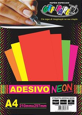 Etiqueta Adesiva Vermelho, 100g/m2,  pacote 20fls.