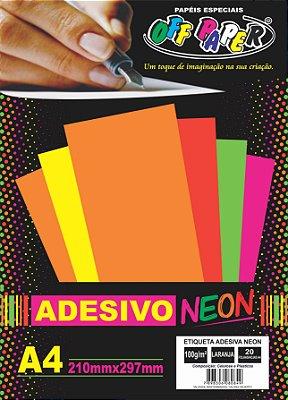Etiqueta Adesiva Laranja, 100g/m2,  pacote 20fls.