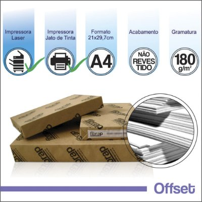Offset 180g/m2, A4 (21x29,7cm) -  pacote 250fls.