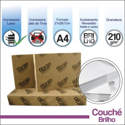 Couché Brilho 210g/m2, A4 (21x29,7cm) -  pacote 250fls.