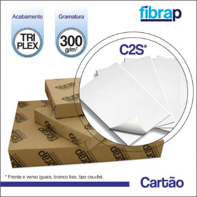 Cartão Triplex C2S 300g/m2 , pacote 200fls.
