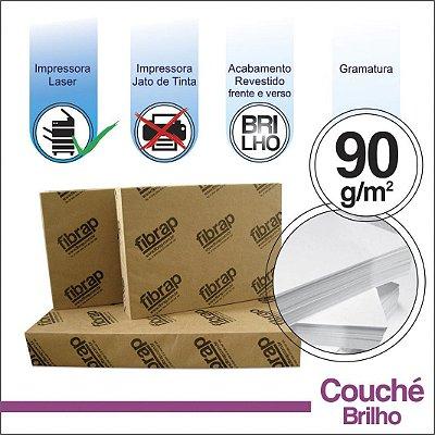 Couché Brilho 90g/m2,  pacote 250fls.