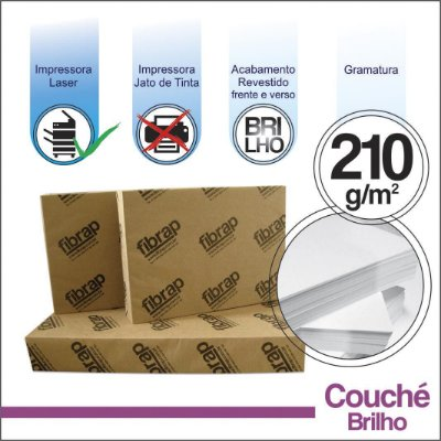 Couché Brilho 210g/m2,  -  pacote 200fls.