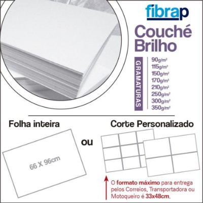 Couché Brilho, 66x96cm ou Corte Personalizado.