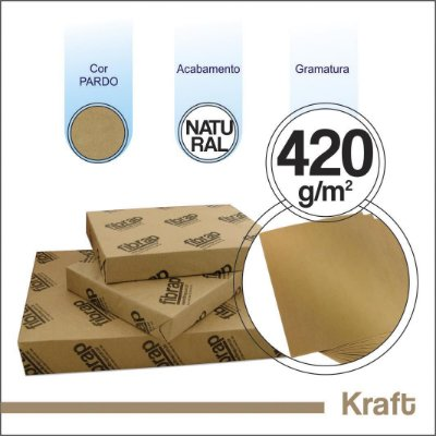 Kraft Natural 420g/m2, -  pacote 250fls.