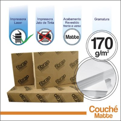 Couché Fosco 170g/m2,  -  pacote 250fls.