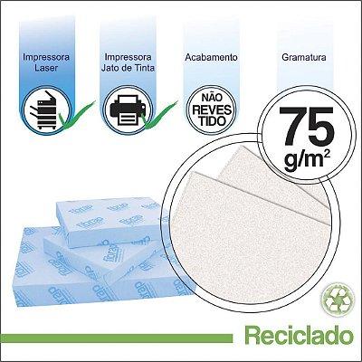 Reciclado 75g/m2,  pacote 500fls.