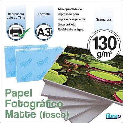Papel Fotográfico Matte (Fosco) A3 - Jato de Tinta, 130g/m2,  pacote 20fls.