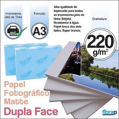 Papel Fotográfico Dupla Face Matte (Fosco) A3 - Jato de Tinta, 220g/m2,  pacote 20fls.