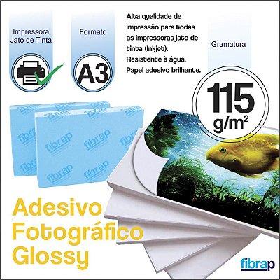 Adesivo Fotográfico Glossy A3 - Jato de Tinta, 115g/m2,  pacote 20fls.