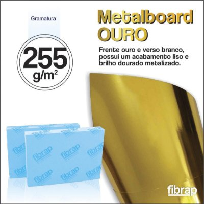 Metalboard Ouro 255 g/m2,  pacote 20fls.