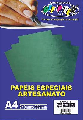Papel Lamicote Verde, 250g/m2,  pacote 10fls.