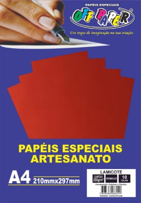 Papel Lamicote Vermelho, 250g/m2,  pacote 10fls.