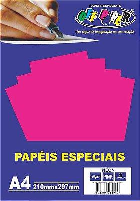 Papel Neon Pink, 180g/m2,  pacote 20fls.