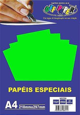 Papel Neon Verde, 180g/m2,  pacote 20fls.