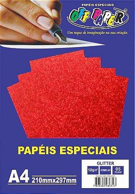 Papel Glitter Vermelho, 180g/m2,  pacote 5fls.