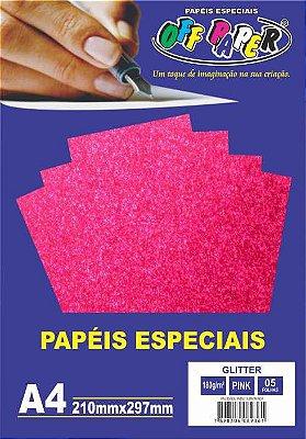 Papel Glitter Pink, 180g/m2,  pacote 5fls.