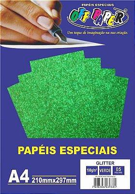 Papel Glitter Verde, 180g/m2,  pacote 5fls.
