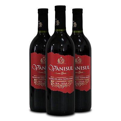 Vanisul - 3 Un. - Vinho de Mesa Tinto Suave 750ml