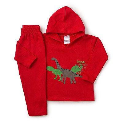 5c9cf614d Conjunto Infantil Blusa e Calça Moletom Dinossauro Vermelho