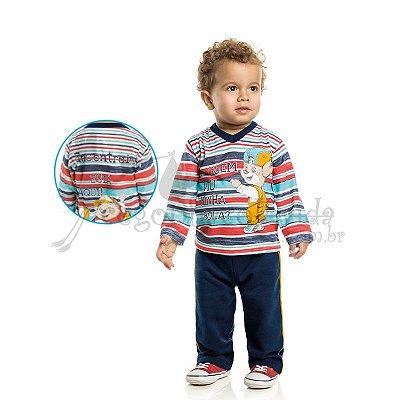 "Camiseta Manga Longa Bebê Menino ""Alguém viu minha bola?"""
