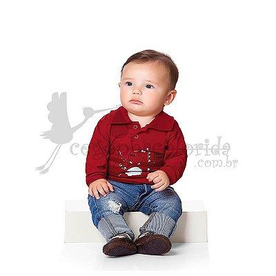 Camisa Polo Manga Longa Bebê Menino Dino Kiko Baby