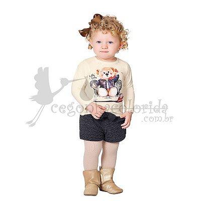 Conjunto Manga Longa Infantil Menina em Tweed Pettenati
