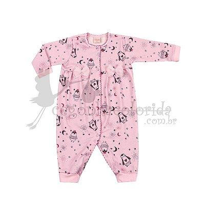 Macacão Manga Longa Bebê Menina Estampado Kiko Baby