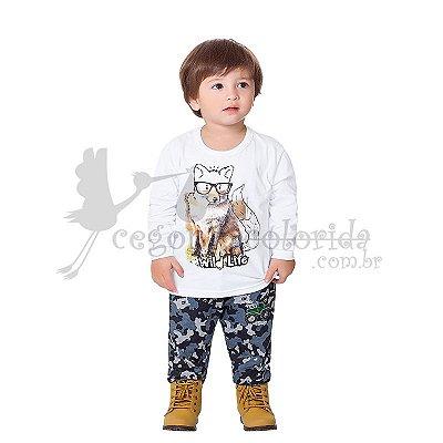 Calça Infantil Menino em Moletom Camuflado Kiko & Kika