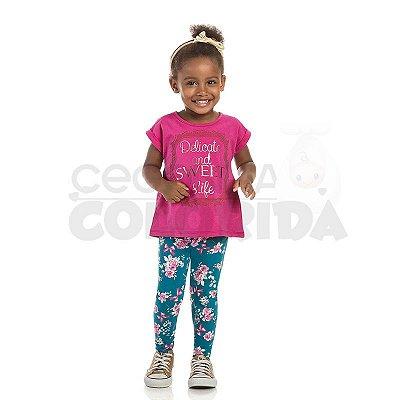 Calça Legging Infantil Menina Floral