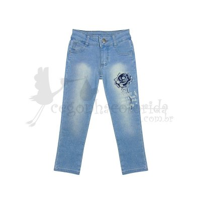 Calça Jeans Infantil Menina Bordada Flor Kookabu