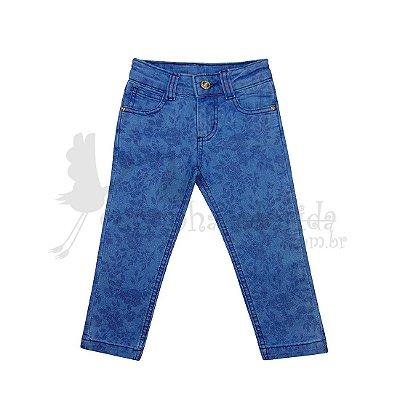 Calça Jeans Infantil Menina Floral Kookabu