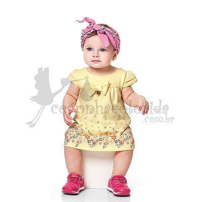 Vestido Meia Manga Bebê Menina Floral Kiko Baby