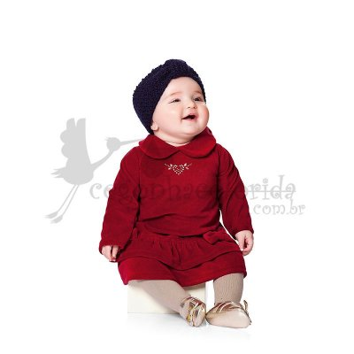 Vestido Manga Longa em Plush Kiko Baby