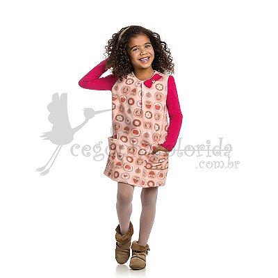 Vestido Manga Longa Infantil em Microsoft Estampado kamylus