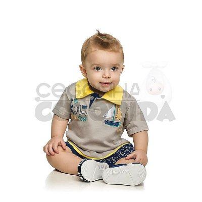 Macacão Polo Manga Curta Bebê Menino Marinheiro