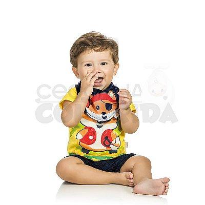 Conjunto Curto Bebê Menino Pirata com Babador Bandana