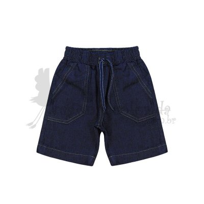 Bermuda Jeans Infantil Menino com Cadarço