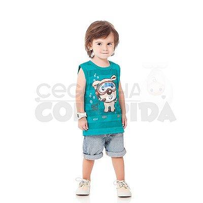 Camiseta Regata Infantil Menino Cão Mergulhador