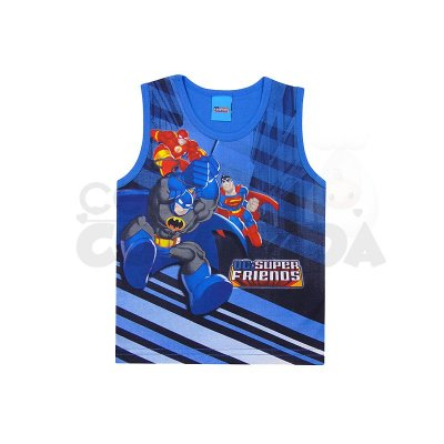 Camiseta Regata Infantil Menino Super Friends