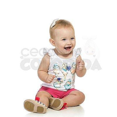 Blusinha Regata Bebê Menina Passarinhos