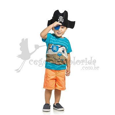 Camiseta Manga Curta Infantil Menino Pirata com Chapéu