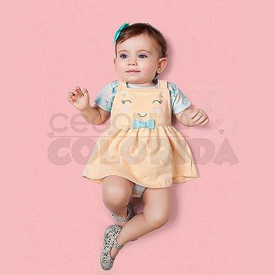 Conjunto Body e Salopete Bebê Menina Kiko Baby
