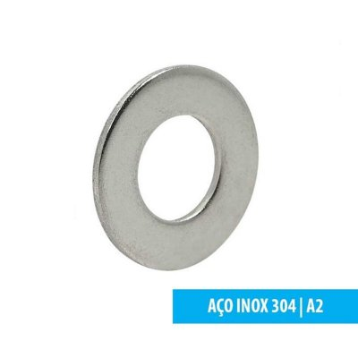 Arruela Lisa - DIN 125 A - M8 - Aço Inox A2