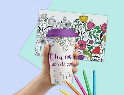 Kit Mandala 2: Copo Coffee Bucks + Folha Mandala + Pincéis - Especial Mães 2019
