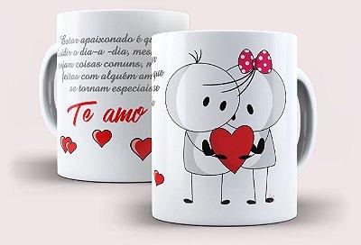 """Caneca de Porcelana Alça e Interior Branco - Definição de """"Estar Apaixonado"""""""