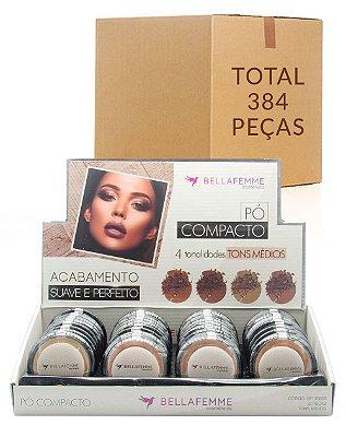 Pó Compacto Cores Médias – Bella Femme BF10006B – Caixa Fechada com 12 Displays