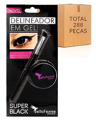 Delineador em Gel – Super Black – Bella Femme BF10054 – Caixa Fechada com 288 Peças